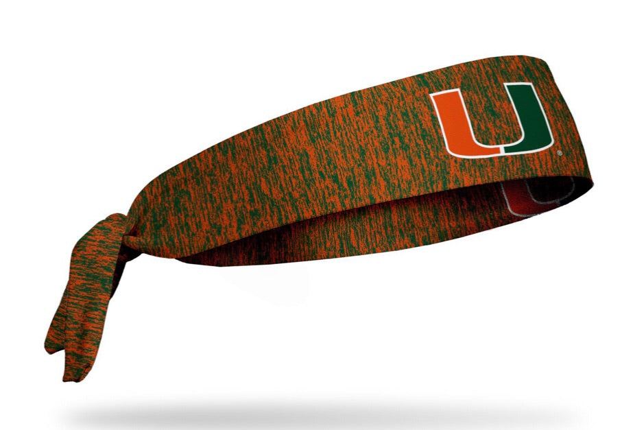 Miami Hurricanes Tie Headband U Logo - Heathered Orange/Green