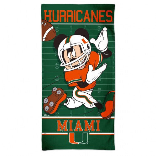 "Miami Hurricanes Disney Beach Towel 30"" x 60"""