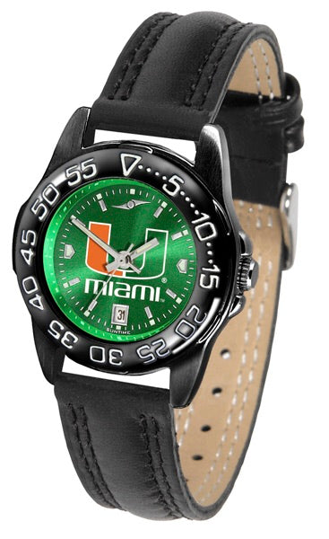 Miami Hurricanes Ladies Fantom Bandit Anochrome Watch -Leather Band