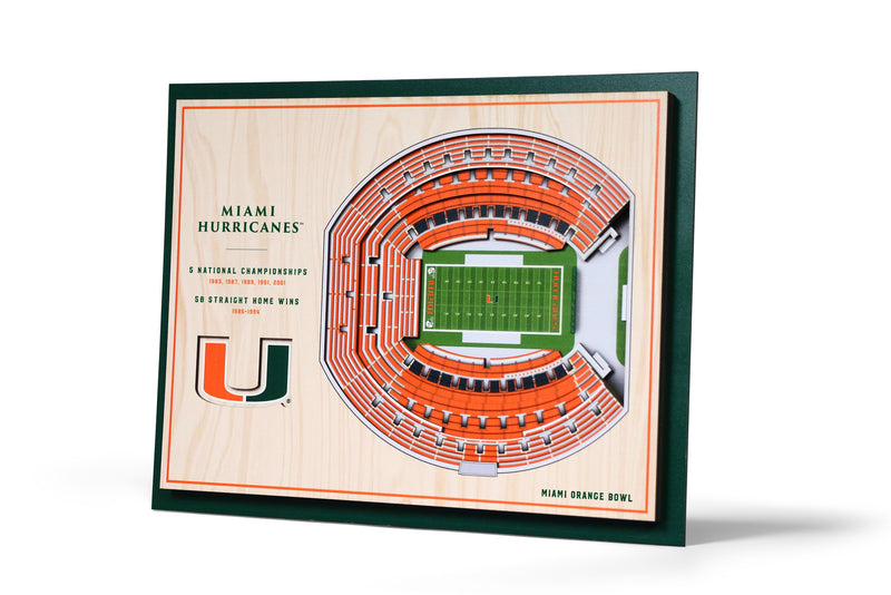 Miami Hurricanes Orange Bowl 5 Layer Stadiumview 3D Wall Art
