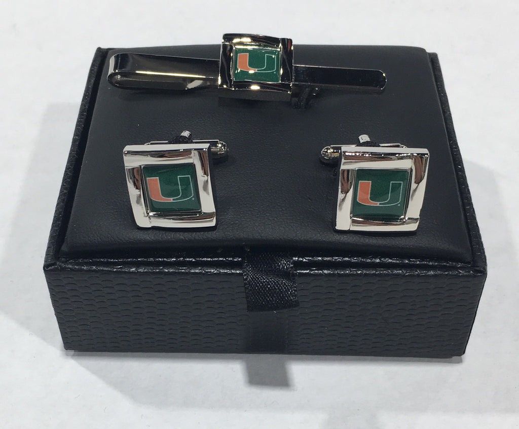 Miami Hurricanes Square Cuff Links & Tie Bar Set