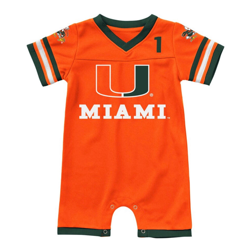Miami Hurricanes Colosseum INFANT BOYS BUMPO FOOTBALL ONESIE ROMPER - Orange/Green