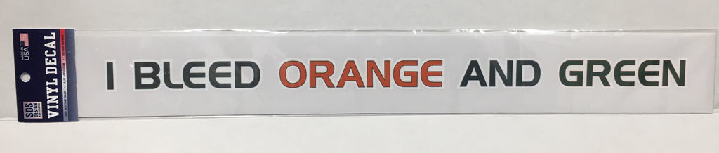 "Miami Hurricanes 20"" I Bleed Orange & Green Text Vinyl Decal"