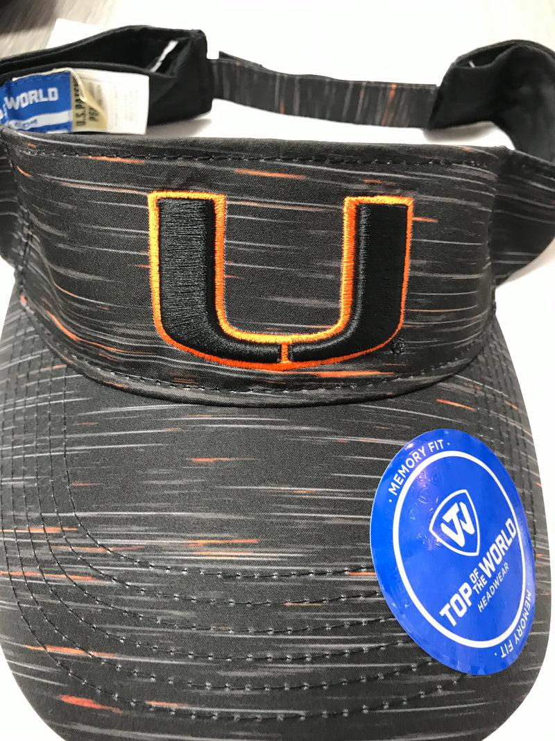 Miami Hurricanes Top of the World Obsidian Visor - Black
