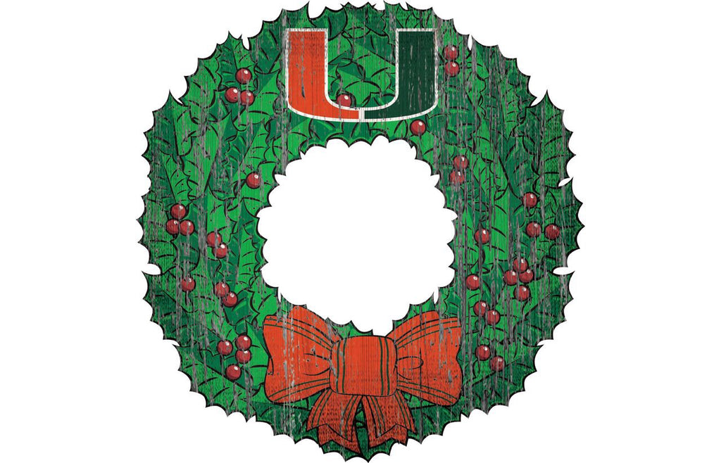 Miami Hurricanes Team Wreath Wooden Sign