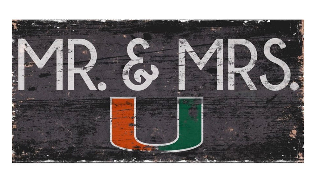 "Miami Hurricanes Mr. & Mrs. Wooden Sign - 6"" x 12"""
