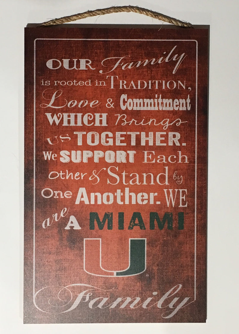 "Miami Hurricanes Our Family Wooden Sign - 11"" x 19"""