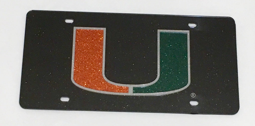 Miami Hurricanes GLITTERED Acrylic License Plate