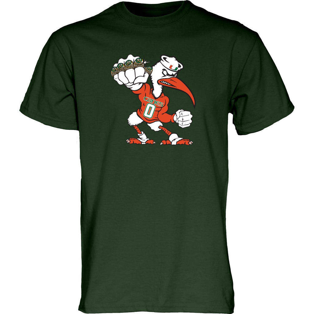 Miami Hurricanes Men's 5 Rings POW T-Shirt - Green