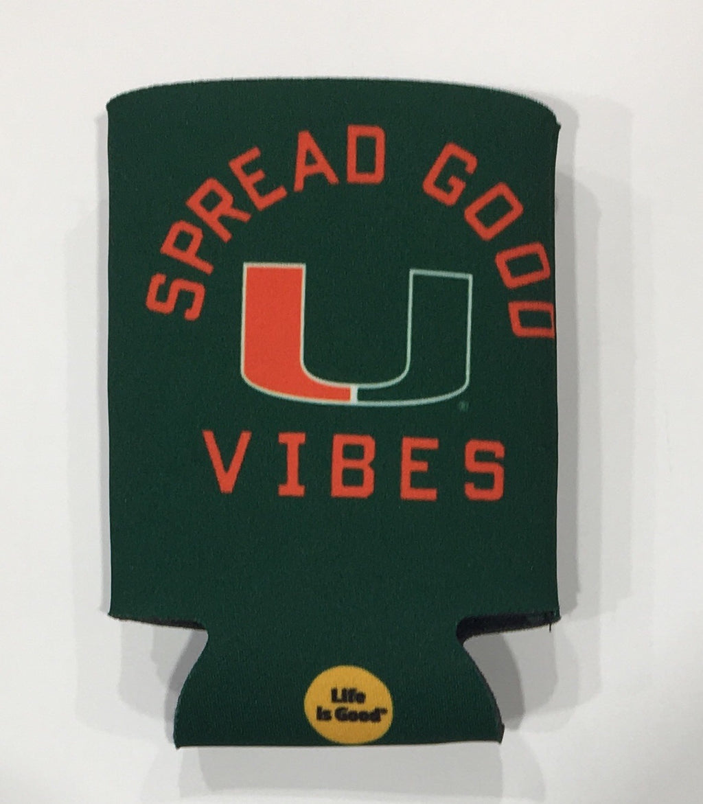 Miami Hurricanes Life is Good Can Koozie - Green