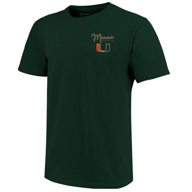Miami Hurricanes Painterly Sailboat T-Shirt - Forrest Green