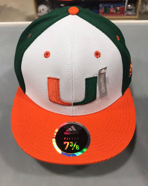 Miami Hurricanes adidas 2019 On Field Fitted Baseball Hat - White