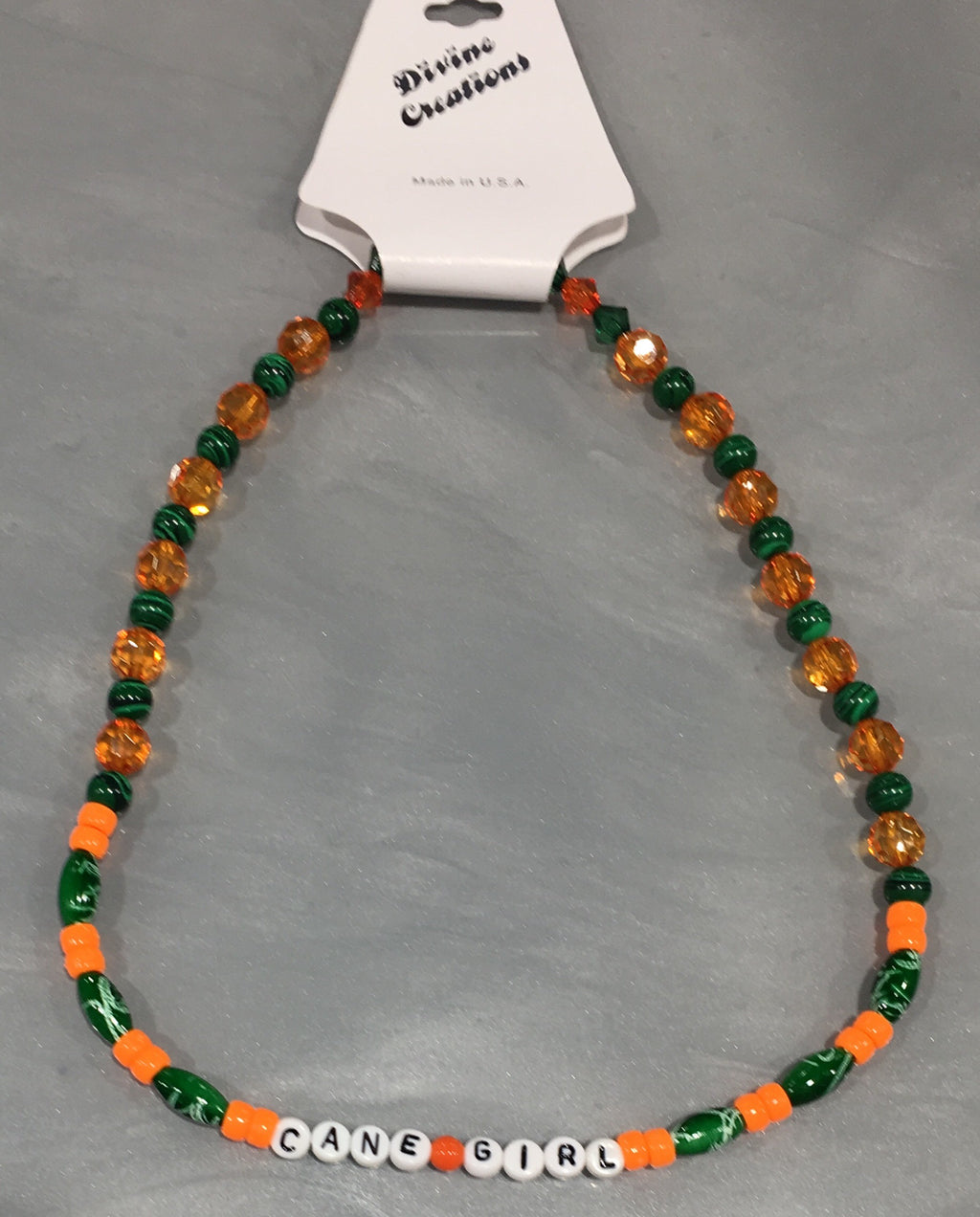 Miami Hurricanes Lil' Fan Necklace - Cane Girl