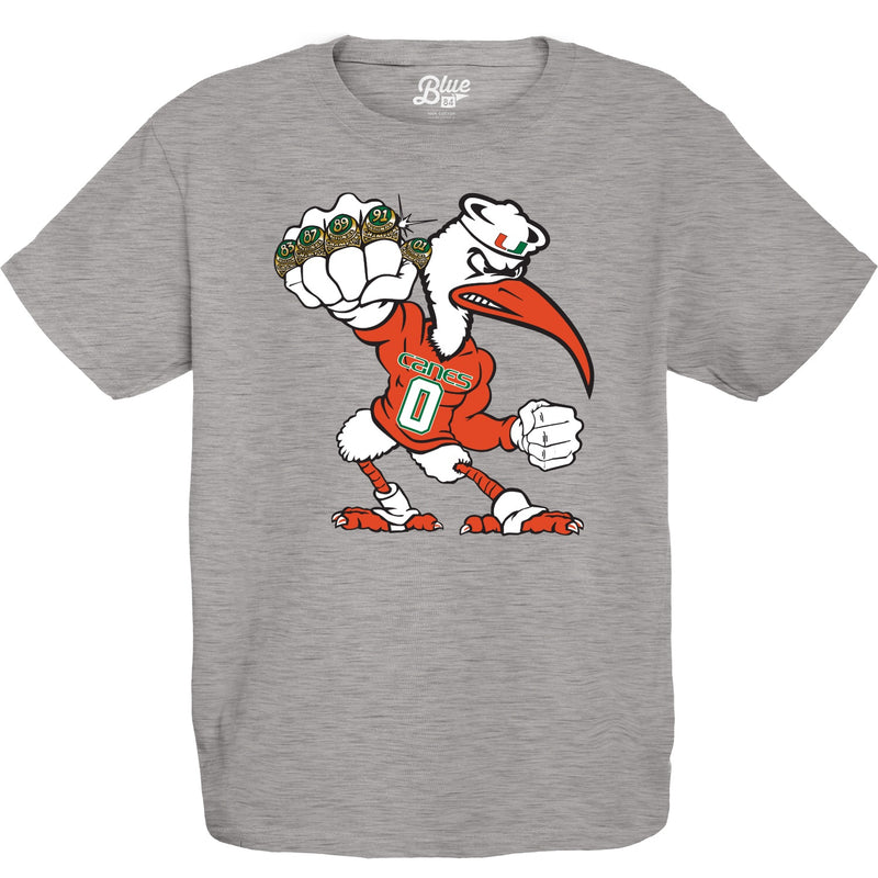 Miami Hurricanes Youth 5 Rings POW T-Shirt - Grey