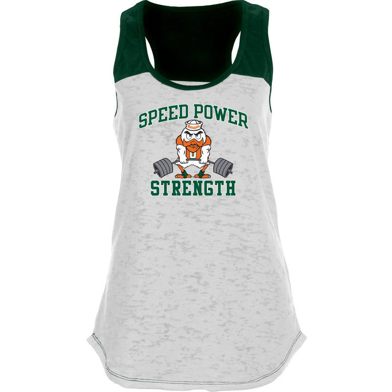 Miami Hurricanes Women's Speed Power Strength Racerback Tank Top - White/Green