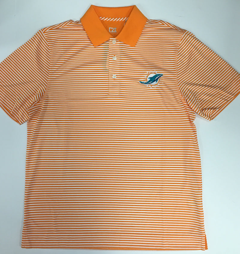 Miami Dolphins Cutter & Buck DryTec Trevor Stripe Polo - Orange