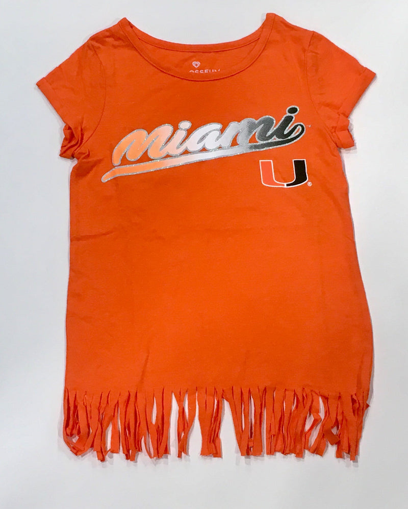 Miami Hurricanes 2019 Girls Kiki Fringe Hem T-Shirt  - Orange