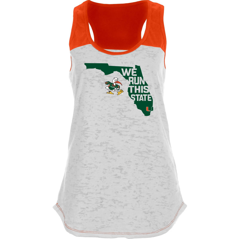 Miami Hurricanes Women's We Run This State Racerback Tank Top - White/Orange