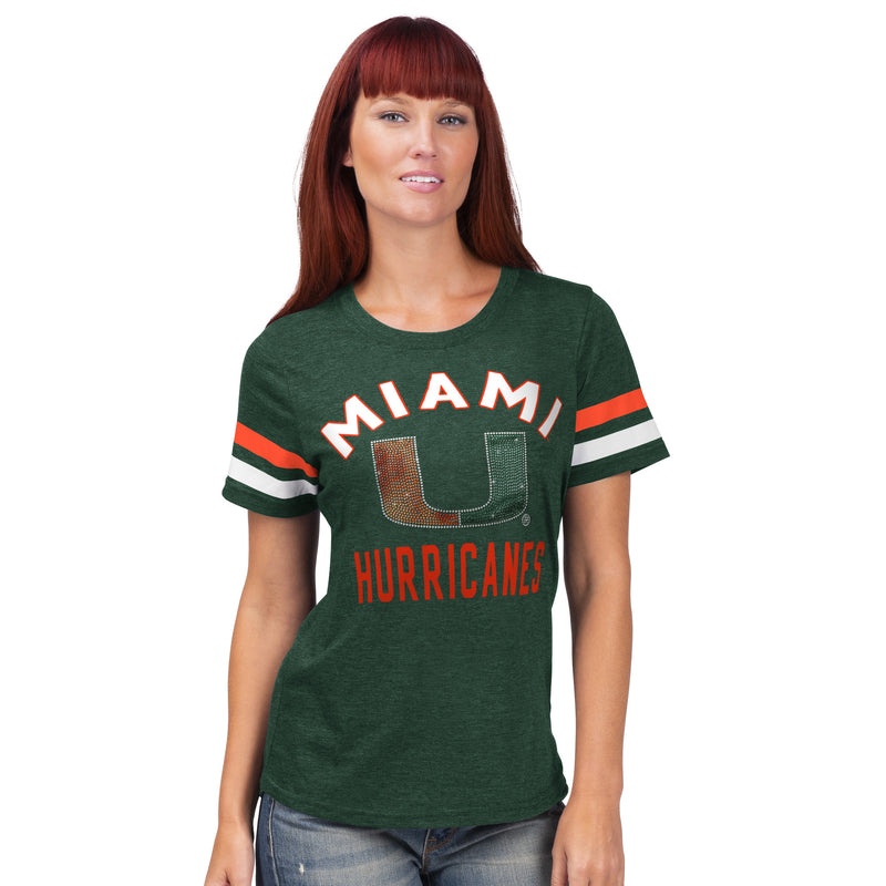 Miami Hurricanes Glll 2019 Women's Rhinestone T-Shirt - Green