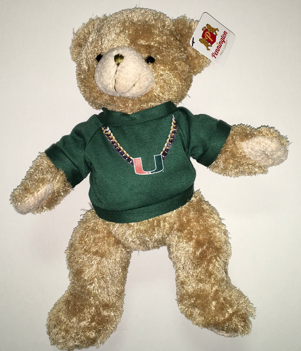 "Miami Hurricanes Plush Bear 11"" Green Turnover Chain"