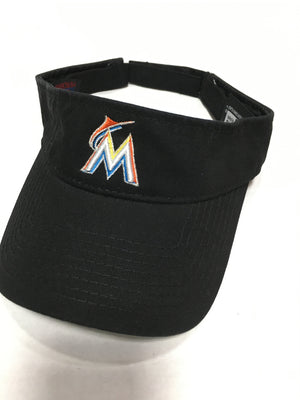 54a5e75f355ff Miami Marlins Logo Adjustable Visor Black – CanesWear at Miami FanWear