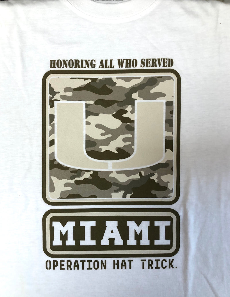 Miami Hurricanes OHT Honoring All Who Served Camo T-Shirt - White