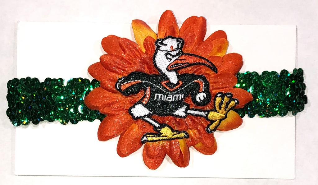 Miami Hurricanes Classic Flower Sequin Headband