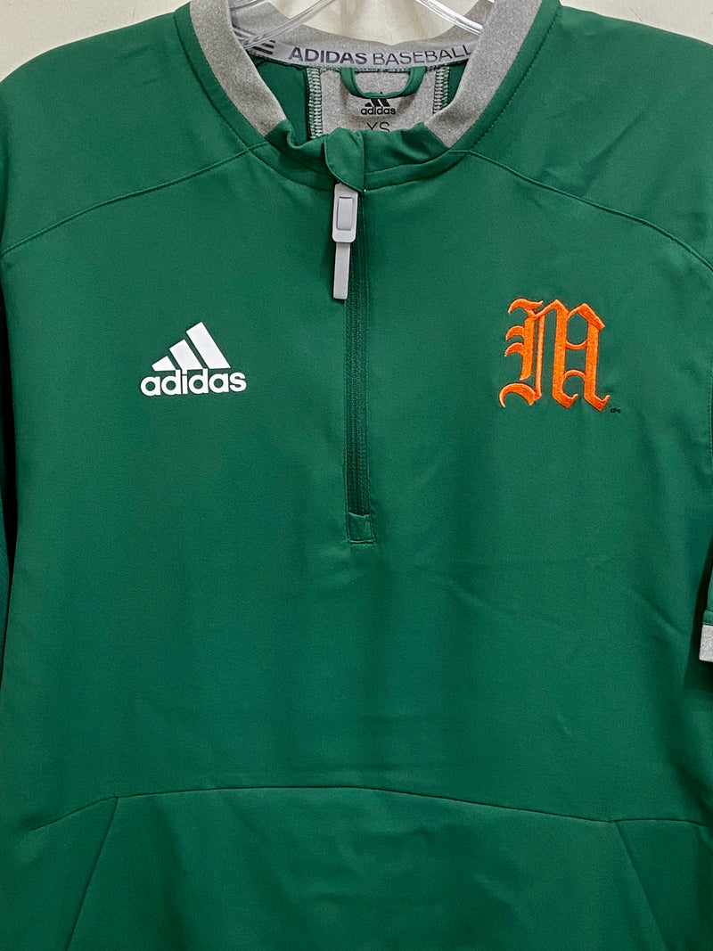 Miami Hurricanes adidas Old English M 1/4 Zip Pullover