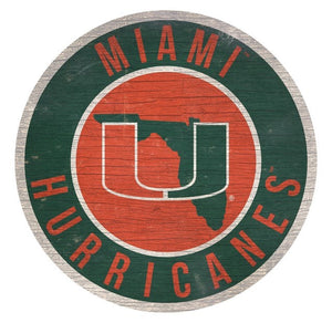 "Miami Hurricanes 12""  Round Wooden Sign"