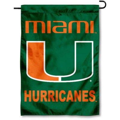 "Miami Hurricanes U Logo and Lettering 13"" x 18"" Garden Flag - Green"