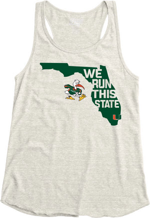 Miami Hurricanes Women's We Run This State Racerback Tank Top - Oatmeal A