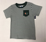 Miami Hurricanes Infant Striped Pocket T-Shirt - CanesWear at Miami FanWear Infant Apparel Creative Knit CanesWear at Miami FanWear