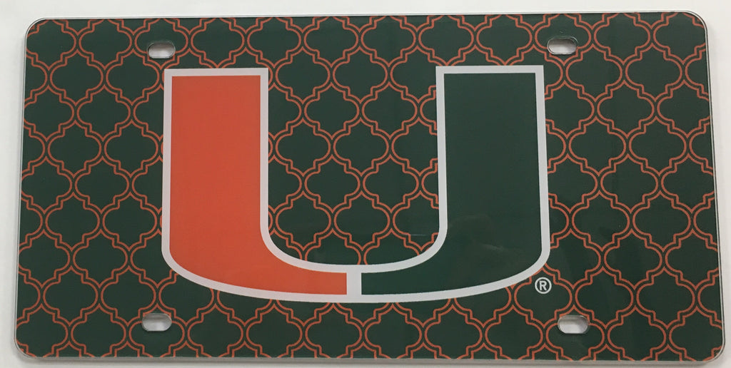 Miami Hurricanes U Lattice Background License Plate
