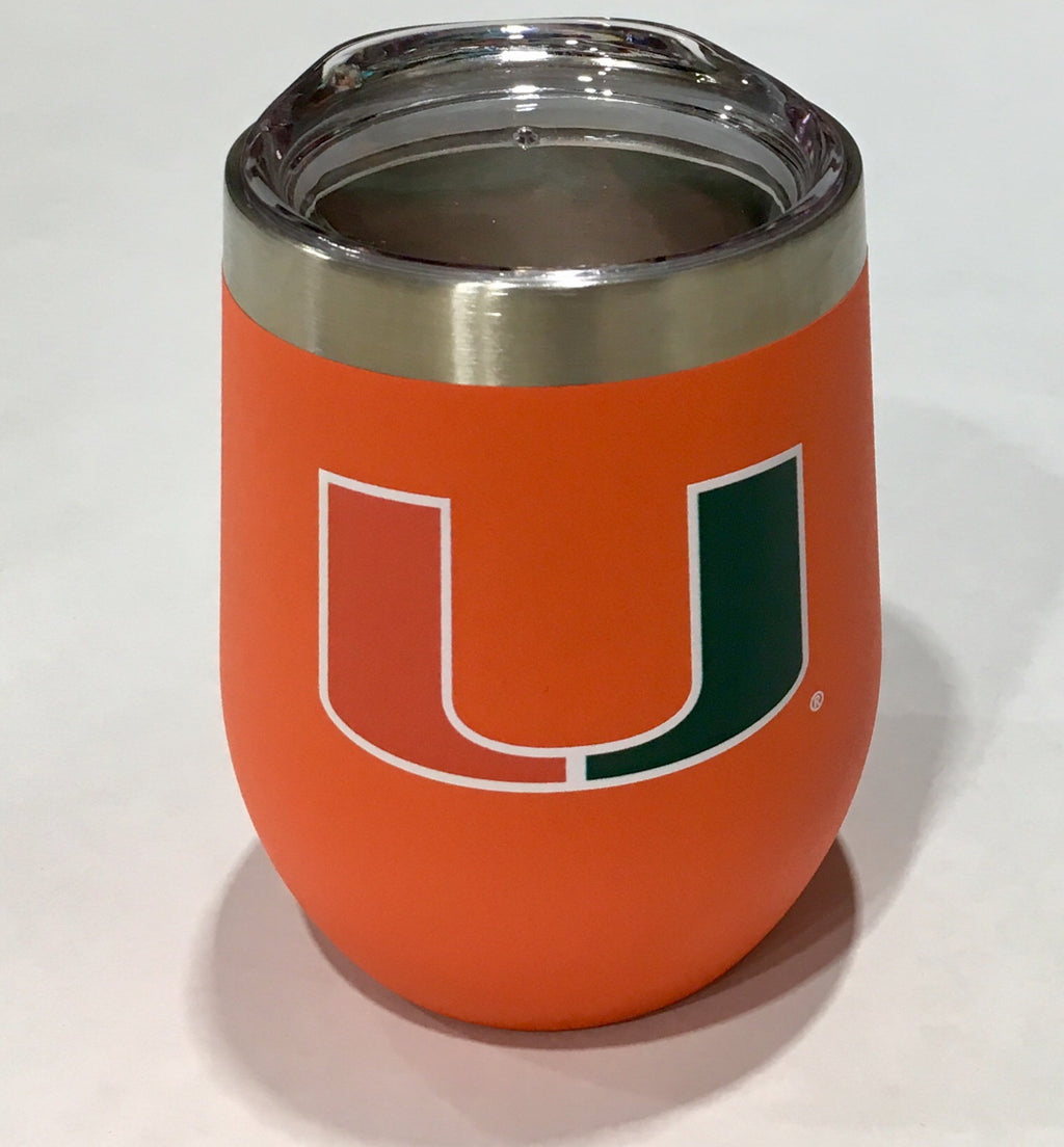 Miami Hurricanes Gametime Sidekicks Stemless Wine 12 oz Tumbler - Orange