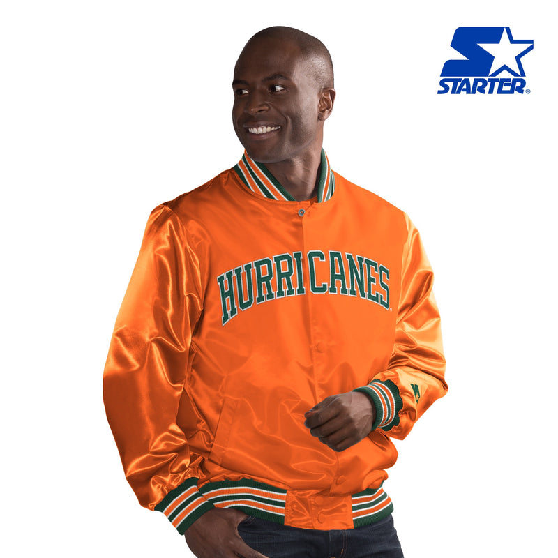 Miami Hurricanes Classic Starter Jacket- Vintage Orange