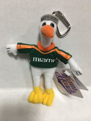 Miami Hurricanes Plush Sebastian Clip On - CanesWear at Miami FanWear Plush Team Head CanesWear at Miami FanWear