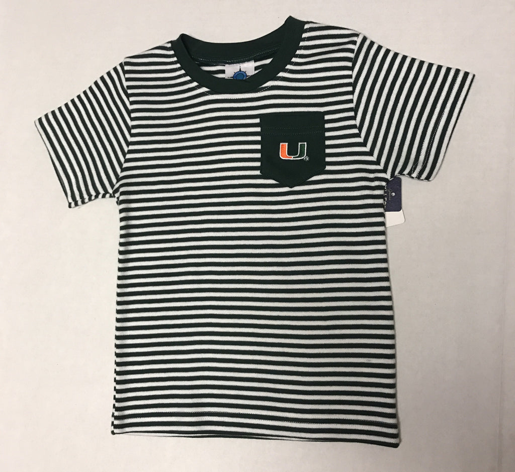 Miami Hurricanes Toddler Striped Pocket T-Shirt