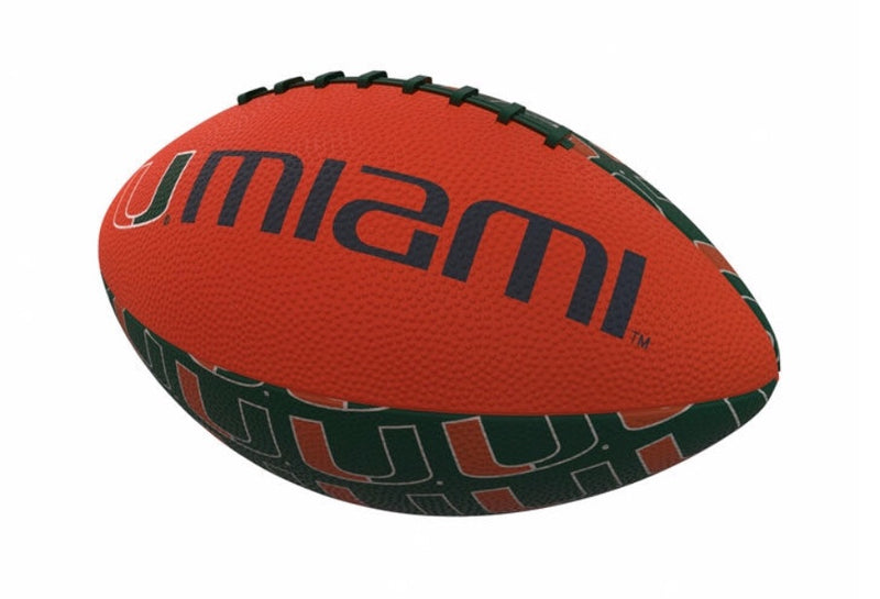 Miami Hurricanes Mini Size Rubber Football - Repeating Logo
