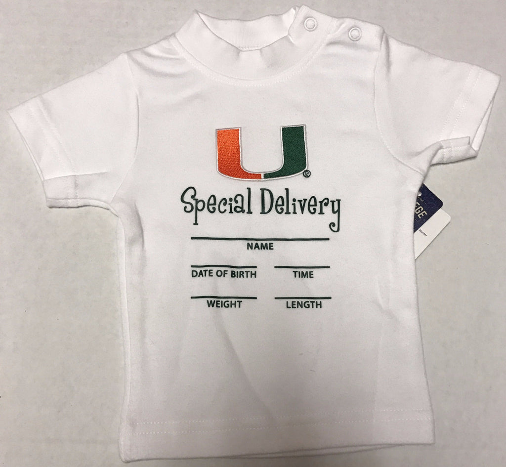 Miami Hurricanes Infant Special Delivery T-Shirt - CanesWear at Miami FanWear Infant Apparel Creative Knit CanesWear at Miami FanWear