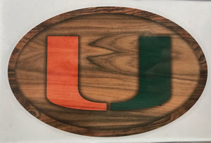 Miami Hurricanes SDS Decal Oval Wood U - 6""