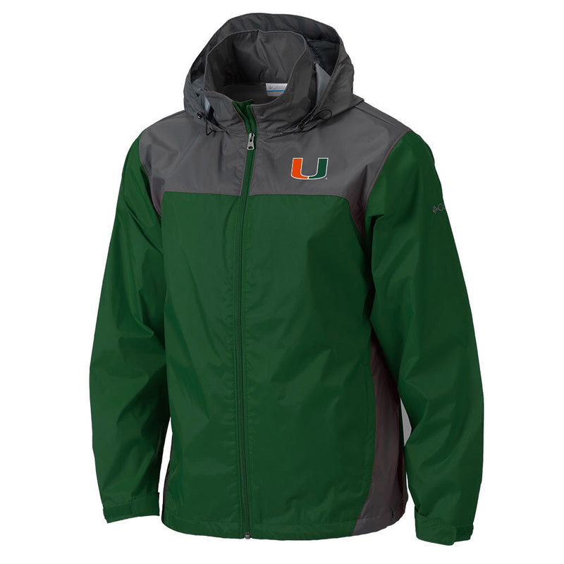 Miami Hurricanes Columbia Glennaker Lake Waterproof Jacket - Green