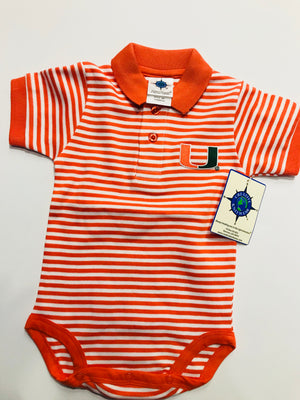 Miami Hurricanes Infant Stripe Polo Bodysuit Onesie / Orange