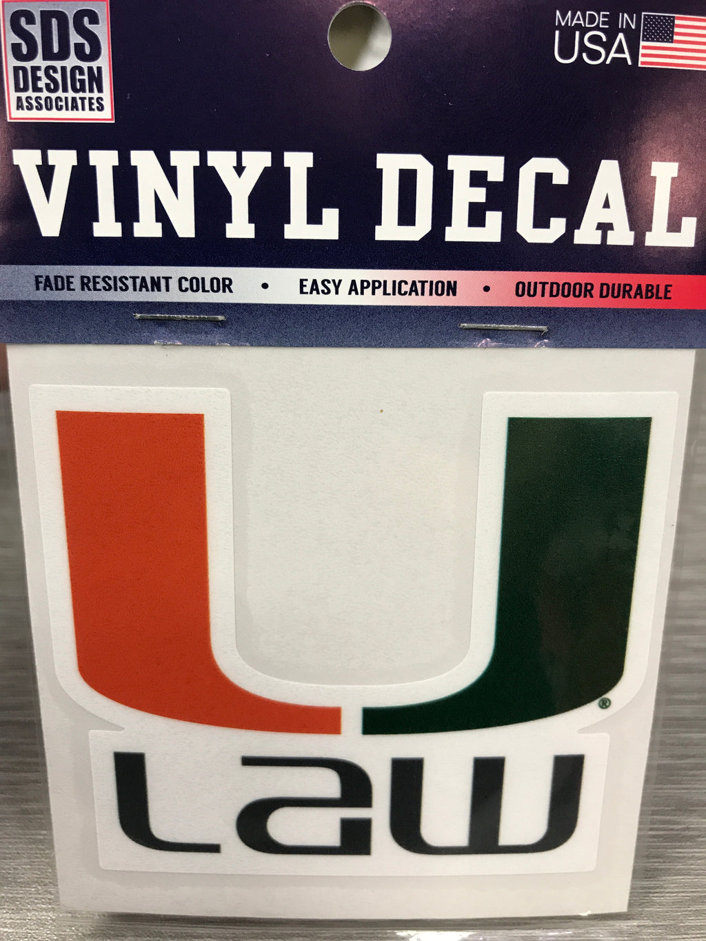Miami Hurricanes U Law Vinyl Decal - 3""
