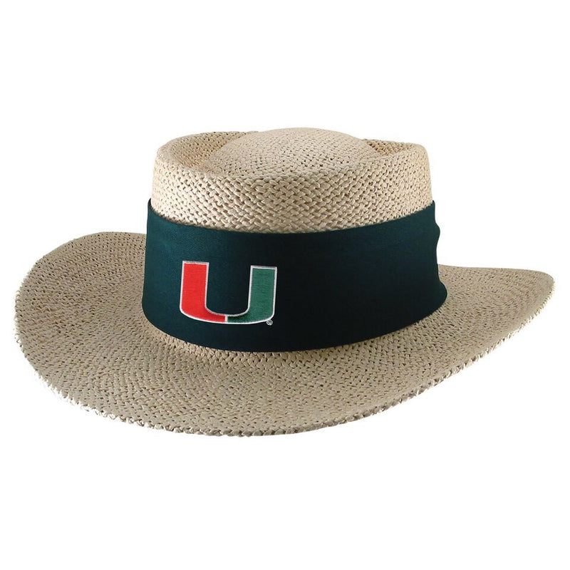 Miami Hurricanes Birch Twisted Straw Gambler Hat - Tournament - Green