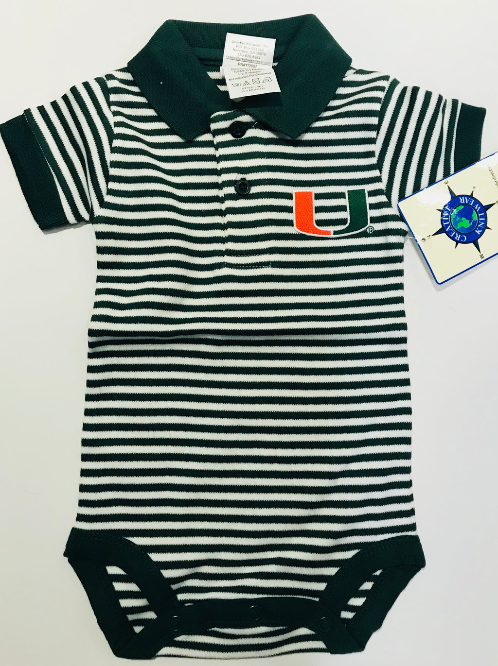 Miami Hurricanes Infant Stripe Polo Bodysuit Onesie / Green
