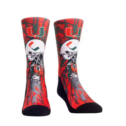 Miami Hurricanes Rock'em Helmet Bash Crew Socks