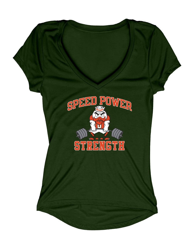 Miami Hurricanes  Women's Speed Power Strength V- Neck Shirt - Green