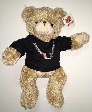 "Miami Hurricanes Plush Bear 11"" Black Turnover Chain"