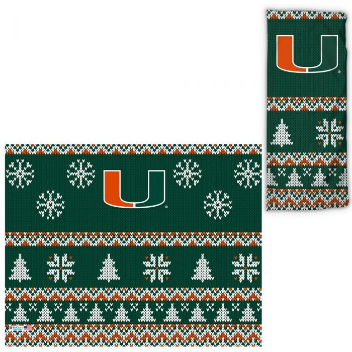 Miami Hurricanes UPF 30 Fan Wrap / Face Gaiter -Ugly Sweater
