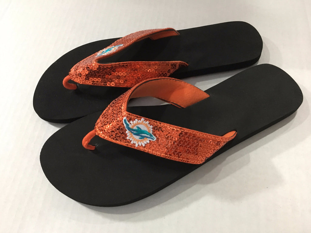 Miami Dolphins Sequin Flip Flops - Orange - CanesWear at Miami FanWear Footwear FBF Originals CanesWear at Miami FanWear